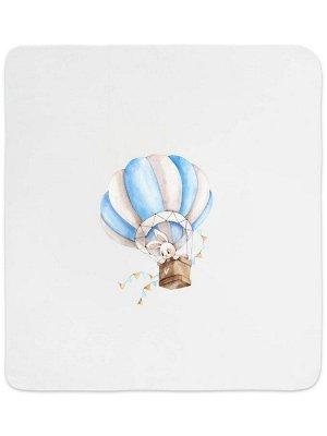 """Трикотажный плед """"Зайка на воздушном шаре"""""""