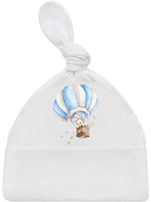 """Шапочка с принтом """"Зайка на воздушном шаре"""""""