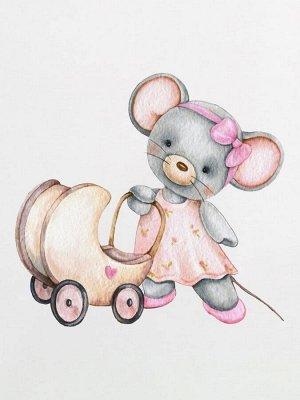 """Трикотажная пеленка """"Мышка с коляской"""""""