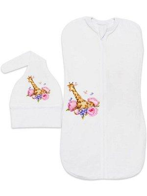 """Пеленка-кокон """"Жираф в цветах"""" с шапочкой"""