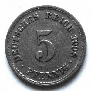 ГЕРМАНИЯ 5 пфеннигов 1908 (А)