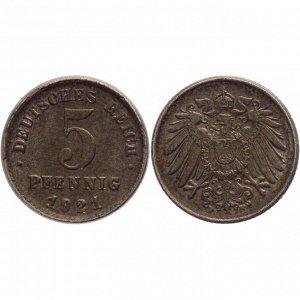 Германия 5 Пфеннигов 1921 F год XF KM# 19 (КОЮ) (#ФР-00118595)
