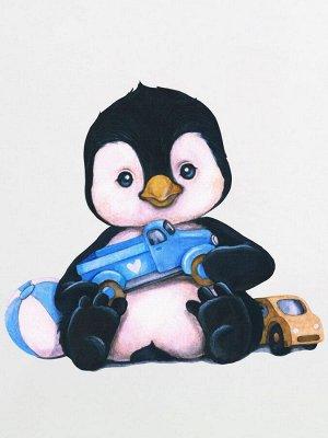 """Лонгслив """"Пингвиненок с машинкой"""" для малышей"""