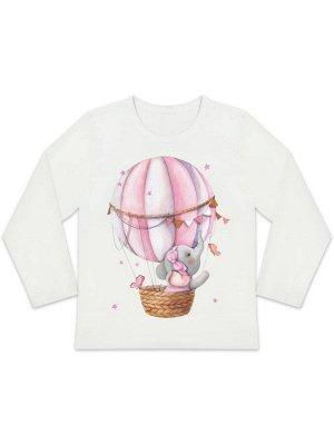 """Лонгслив """"Слоненок на воздушном шарике"""" для девочки малышки"""