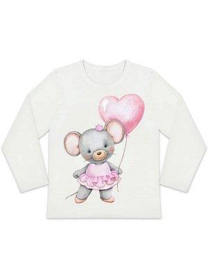 """Лонгслив """"Мышка с сердечком"""" для малышей"""