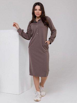 Трикотажное платье цвета хаки с воротником