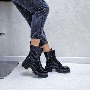 Ботинки  SPRING черный (рептилия)