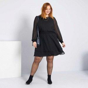 Расклешенное платье с вышивкой гладью - черный