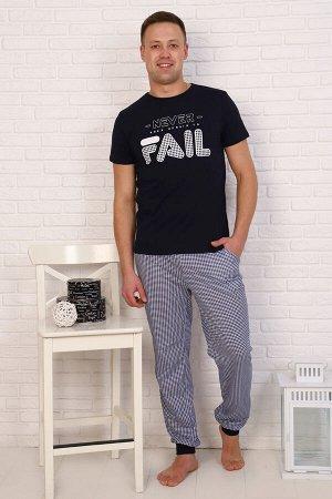 Пижама Ткань кулирка Состав 100% хлопок Описание Удобная мужская пижама для дома и сна. Футболка с принтом, короткий рукав. Брюки с карманами и  манжетами внизу