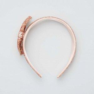 Обруч для волос с пайетками - розовый