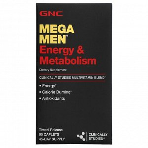 GNC, для энергии и метаболизма, клинически изученные поливитамины, 90 капсул с замедленным высвобождением