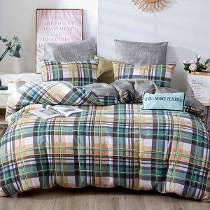 Комплект постельного белья Делюкс Сатин на резинке LR364 Дуэт Семейный 4 наволочки