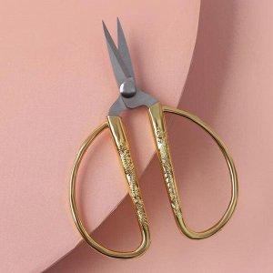 """Ножницы универсальные, скошенное лезвие, 3,5"""", 8,5 см, цвет золотой"""
