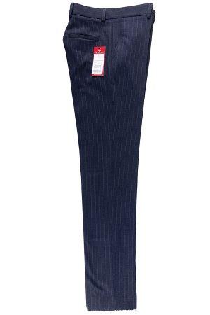 Брюки Сезон: зимние. Модель: классика со стрелками. Цвет: синий. Комплектация: брюки. Состав: шерсть-40%, вискоза-27%, полиэстер-31%, эластан-2%. Бренд: Svyatnyh. Фактура: полоса. Посадка: узкие.