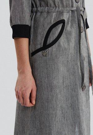 2073 серый Удлиненная рубашка, легкий летний плащв спортивном стиле и стрикотажной отделкой, российского производства бренда Dimma. Широкий размерный ряд, в том числе большие р