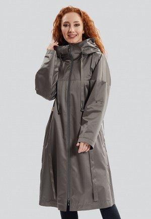 2143 серый Модный удлиненныйплащ с капюшоном,российского производства, бренда Dimma . Центральная застежка на молнию, декоративные паты на рукавах, шлицы по бокам изделия засте