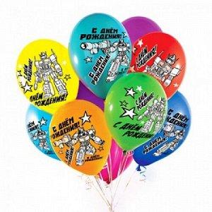 """Воздушный шар латексный с рисунком 12"""" стандарт (пастель) ассорти """"с днем рождения"""""""