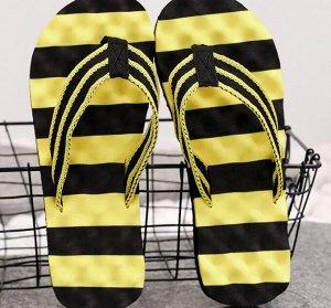 """Мужские шлепанцы, принт """"полосы"""", цвет желтый/черный"""