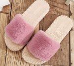 Женские тапочки с мехом, цвет розовый/бежевый