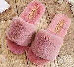 Женские плюшевые тапочки с мехом, цвет розовый