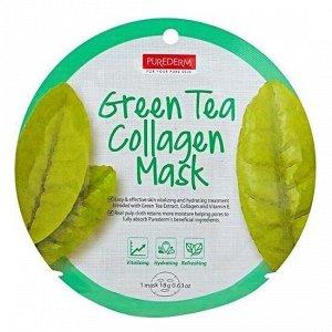 Purederm Green Tea Collagen Circle Mask Коллагеновая маска с экстрактом зеленого чая 18гр