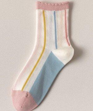 """Носки женские, принт """"цветные полосы"""", цвет белый"""