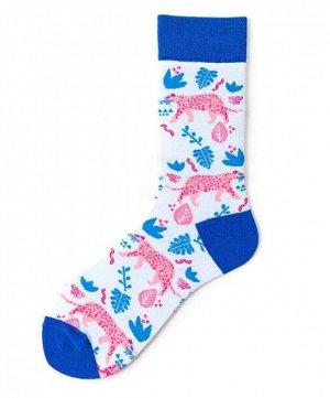 """Носки мужские, принт """"Леопард"""", цвет голубой/синий"""