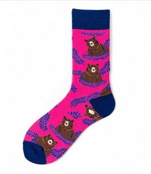 """Носки мужские, принт """"Медведь"""", цвет розовый/синий"""