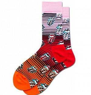 """Носки мужские, принт """"Язык"""", цвет розовый/красный/оранжевый"""