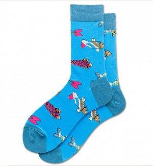 """Носки мужские, принт """"Рыбы"""", цвет голубой"""