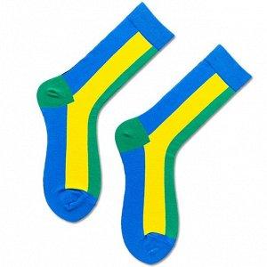 """Носки мужские, принт """"Полосы"""", цвет голубой/желтый/зеленый"""