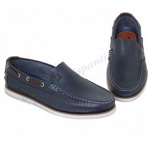 Casual. Мужские ботинки Топ-сайдеры. Натуральная кожа. Португалия.(арт. 9881CA), цвет: синий