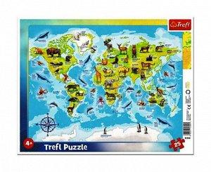 """Trefl. Пазл-рамка 25 арт.31340 """"Карта мира с животными"""""""