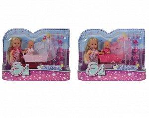 Evi.5736242 Кукла Еви 12 см+пупс 7,5 см в кроватке, ассорт. 12/72