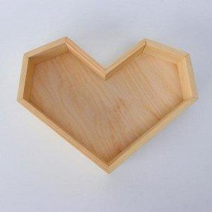 """Кашпо деревянное 25?4.5 см """"Сердце"""" подарочное, натуральный"""