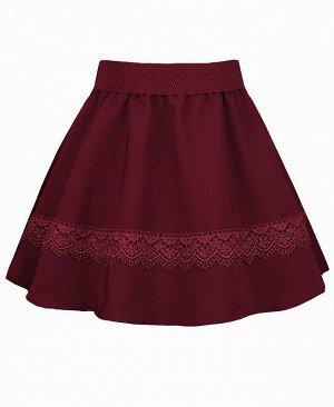 Бордовая школьная юбка для девочки с кружевом Цвет: бордовый