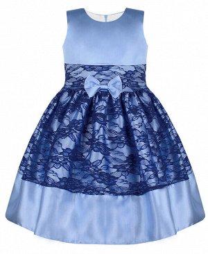 Нарядное платье для девочки с гипюром Цвет: Голубой