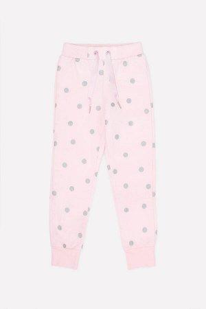 Брюки для девочки Crockid КР 4977 персиково-розовый, горошек к285