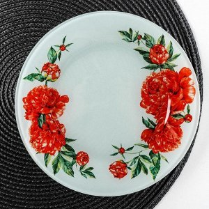 Тарелка десертная Доляна «Пионы», d=20 см
