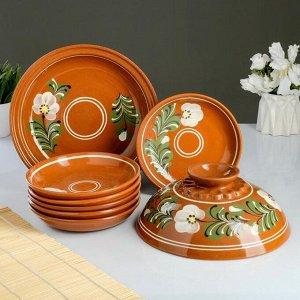 Набор для блинов 7 предметов: 1 шт. блинница, 6 шт. тарелок, с росписью, деревенская