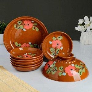 Набор для блинов 7 предметов: 1 шт. блинница, 6 шт. тарелок, с росписью, майский