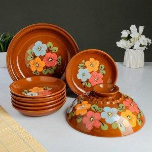 Набор для блинов 7 предметов: 1 шт. блинница, 6 шт. тарелок, с росписью, многоцвет