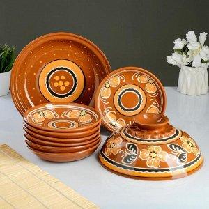 Набор для блинов 7 предметов: 1 шт. блинница, 6 шт. тарелок, с росписью, персик