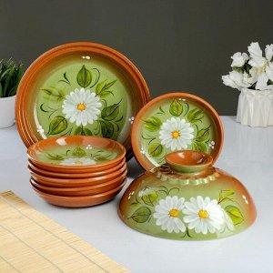 Набор для блинов 7 предметов: 1 шт. блинница, 6 шт. тарелок, с росписью, ромашка