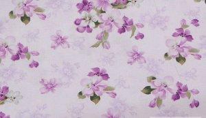 Ткань Сатин - Сиреневые цветы 0,5*1,6м