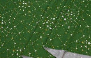 Ткань Сатин - Созвездия на зеленом фоне 0,5*1,6м