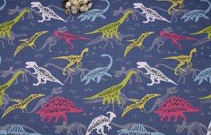 Ткань Сатин - Динозавры 0,5*1,6м