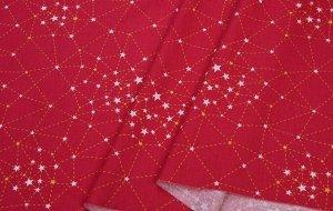 Ткань Сатин - Созвездия на красном фоне 0,5*1,6м