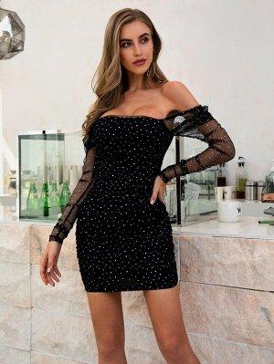 Double Crazy облегающее сетчатое платье со стразами и открытыми плечами
