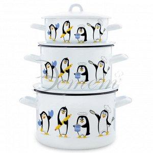"""Набор посуды """"Пингвины"""" 1,45 л 2,9 л 4,3 л"""